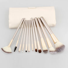 China 2016 best sells 12pcs cosmetic brush set silver nylon hair with PU bag supplier