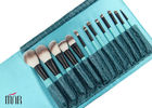 China Ket Brush Set Nylon hair Makeup Brush Cylinder With Black Aluminum And Bule Wooden Handle factory