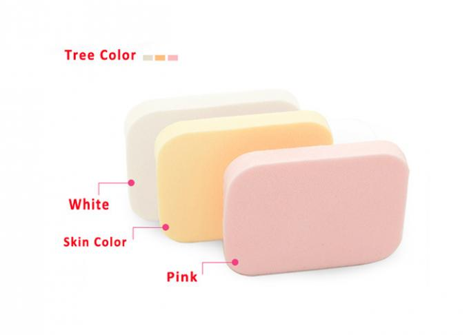Square Sponge Makeup Powder Puff Cosmetics Products , Yellow / White And Pink