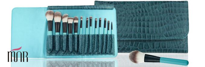Eye Shadow Eyeliner Professional Makeup Brush Set With Leather Cosmetic Bag