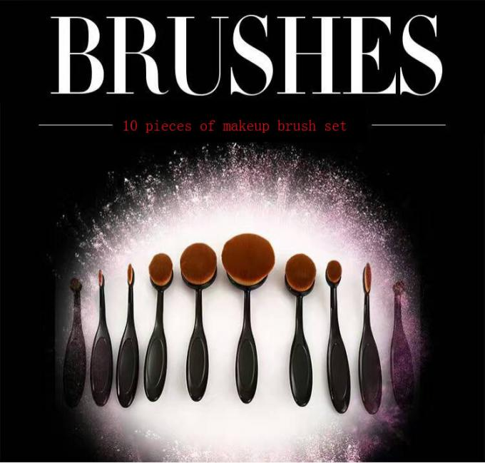 10 Pieces Tooth Shapes Travel Makeup Brush Set With Nylon Hair