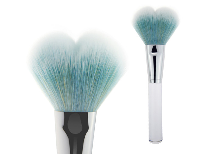 Dispensing Mineral Powder Pump Contour Blush Brush Silver Aluminum Ferrule