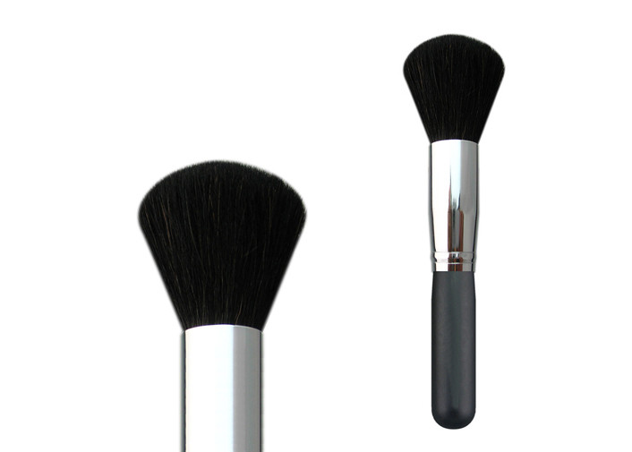 Wooden Handle Copper Ferrule Essential Makeup Brushes Black Goat Hair