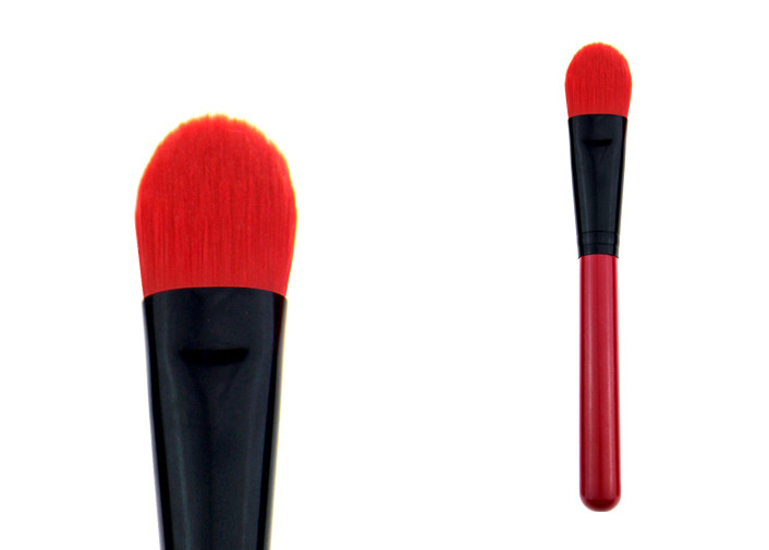 OEM Logo Angular Face Synthetic Foundation Brush With Red Hair
