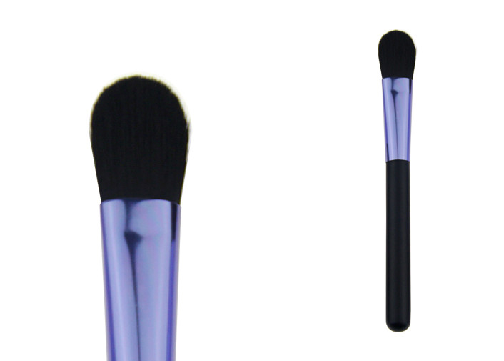 Professional Powder Foundation Brush With Purple Aluminum Ferrule