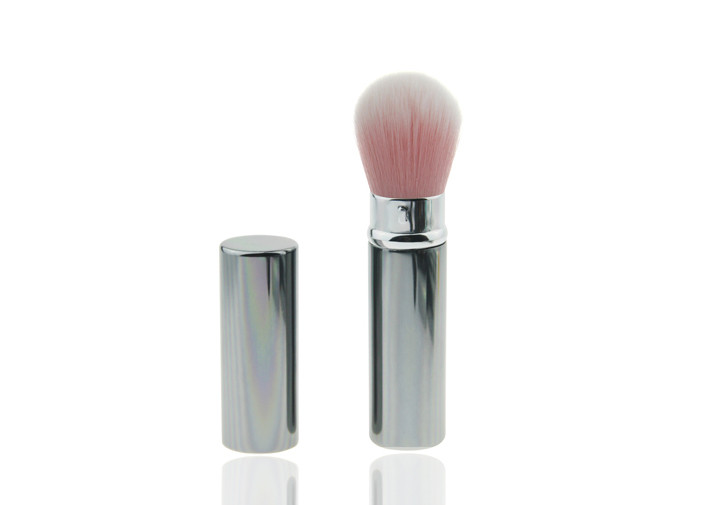 Retractable Blusher Brush Nylon Hair Powder Holder Sliver Handle