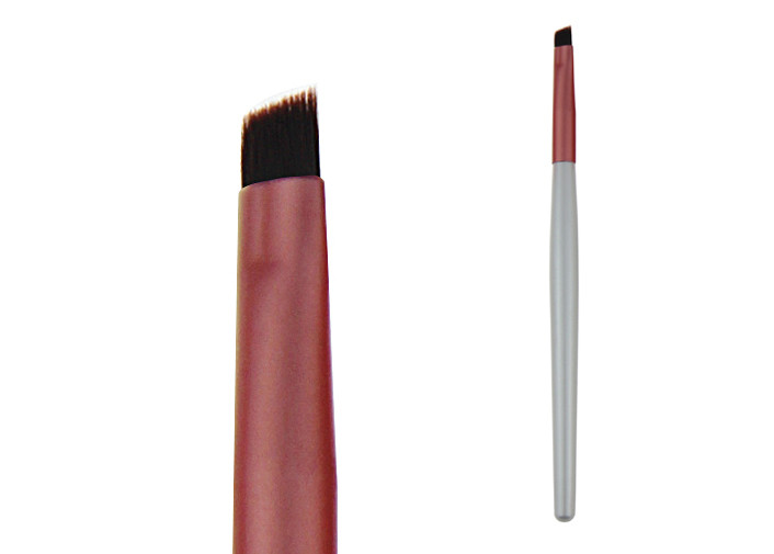 Brown Nylon Hair Eye Makeup Brushes Red Metal Ferrule Silver Wood Handle