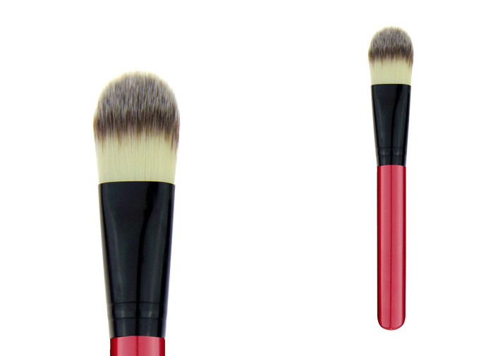 Red Wooden Handle Synthetic Hair Flat Top Foundation Brush In A Opppoly Bag