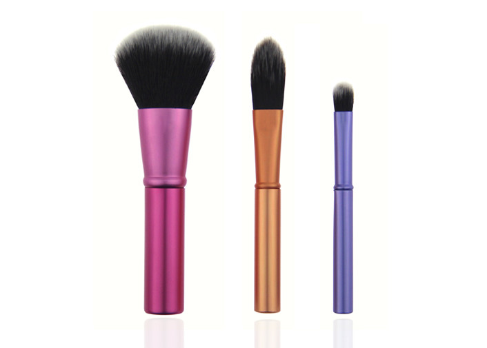 Light Weight Travel Makeup Brush Set / Aluminum Handle professional cosmetic brush set