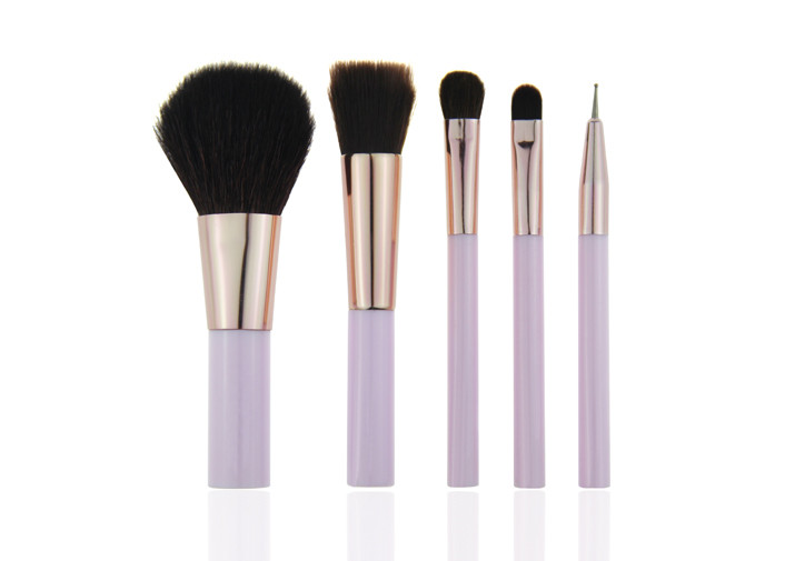 6 Piece Travel Makeup Brush Set With Plastic Handle , Synthetic Hair Makeup Brushes