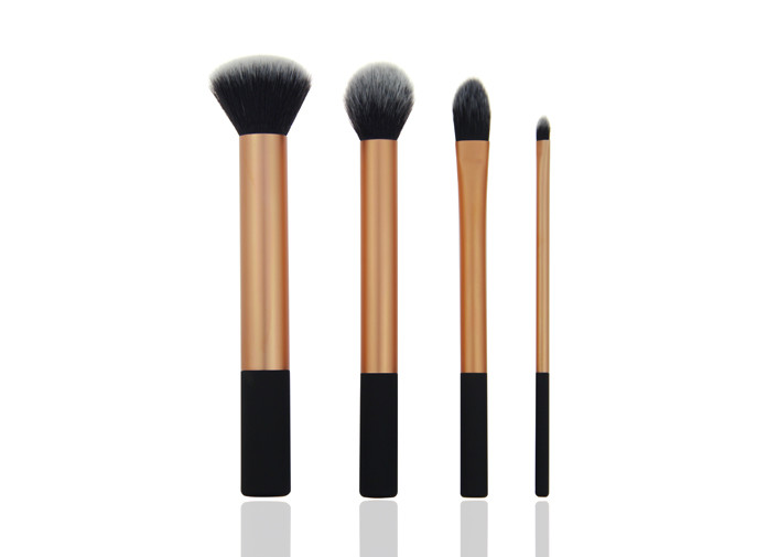 4 Piece Natural Hair Travel Makeup Brush Set for Eye Shadow / Eyeliner Makeup