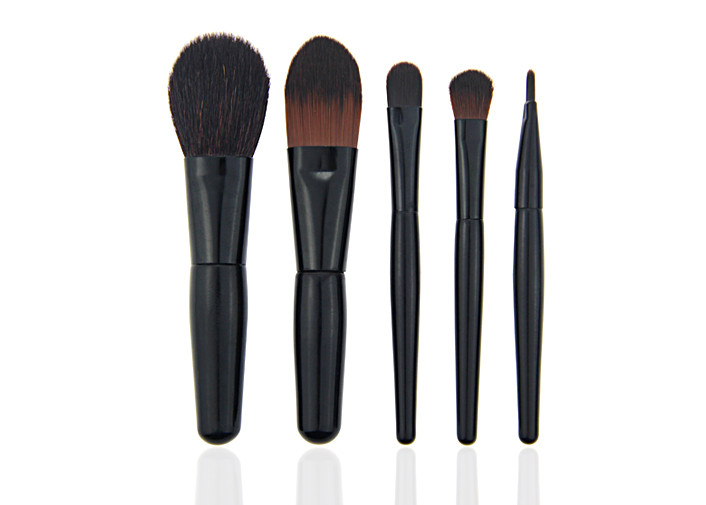 Black Natural Travel 5 Piece Makeup Brush Set With Zipper Bag , Goat Hair