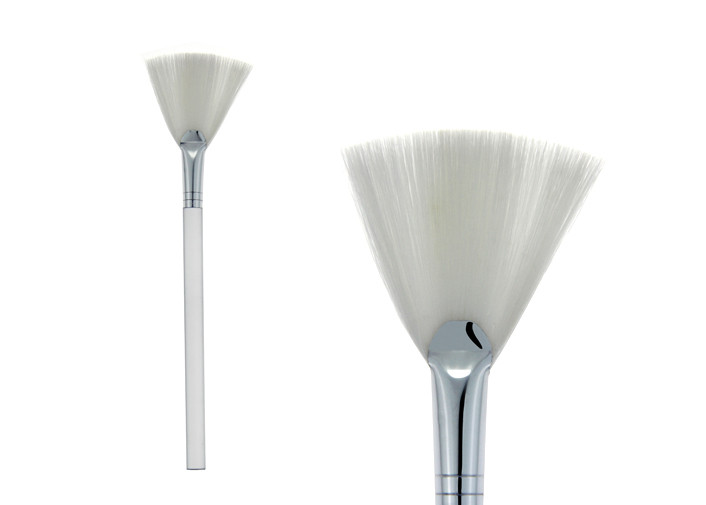 Soft White Large Fan Contour Flat Angled Blush Brush Cosmetic Makeup Brushes