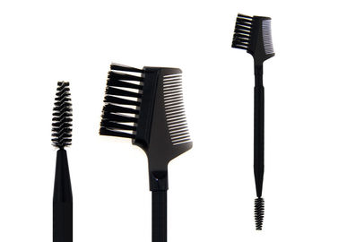 China Plastic Handle Double End Eyebrow Brush With Black Synthetic Hair factory