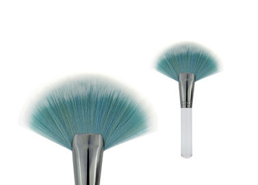 China Durable Blue Hair Cosmetic Angled Blush Brush With Large Fan Shaped factory