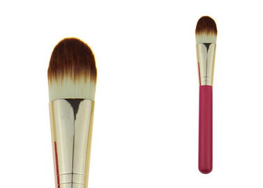 China Rose Red Powder Foundation Brush 100mm Wooden Handle Gold Ferrule factory
