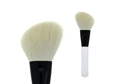 China Angle White Goat Hair Contour Blush Brush Transparent Handle Metal Ferrule factory