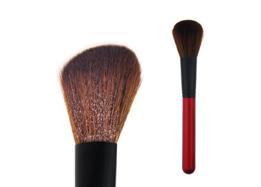 China Soft Contour Blush Brush Brown Synthetic Hair Red Wooden Handle factory