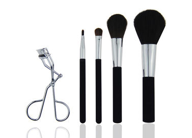 China Cruelty Free Travel Makeup Brush Set With Cement Handle Siver Aluminum factory