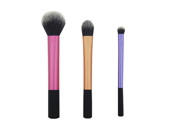 China Black Rubber Handle Travel Size Makeup Brushes 108g Three Pieces factory