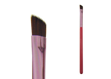 Angled Liner Eye Brow Brush With Three Color Wooden Handle Aluminum Ferrule