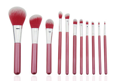 China Beautiful Travel Professional Makeup Brush Set 11 Piece With Nylon Hair Red Color factory
