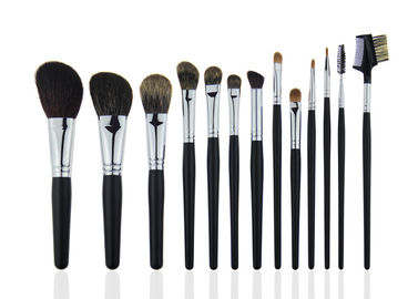 China Black Professional Makeup Brush Set With Wooden Handle Face / Cheek Eyebrow factory
