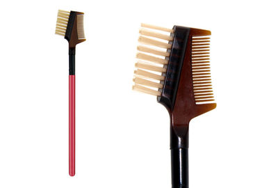 China Professional Private Label Eye Brow Brush Comb With Wooden Handle , Dual Ended factory