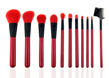 China Red Natural Synthetic Hair Makeup Brushes Professional Makeup Brush Kits factory